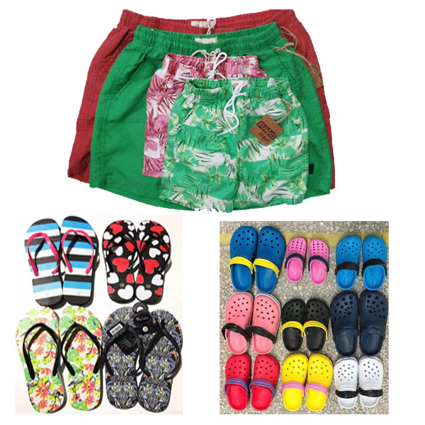 Summer Stock Ready to Ship, Board Shorts, Flip Flops, Garden Shoes are all Ready in Warehourse